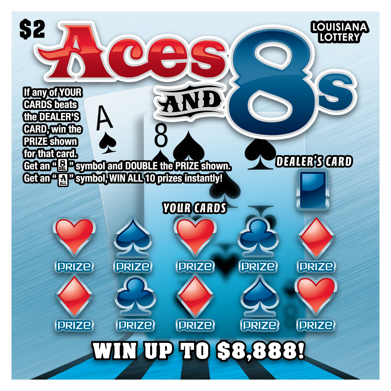 aces and 8s lottery ticket jack cards game