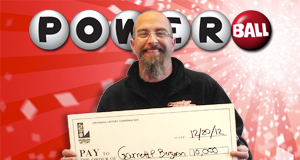 Garrett Bergeron's Powerball winner photo